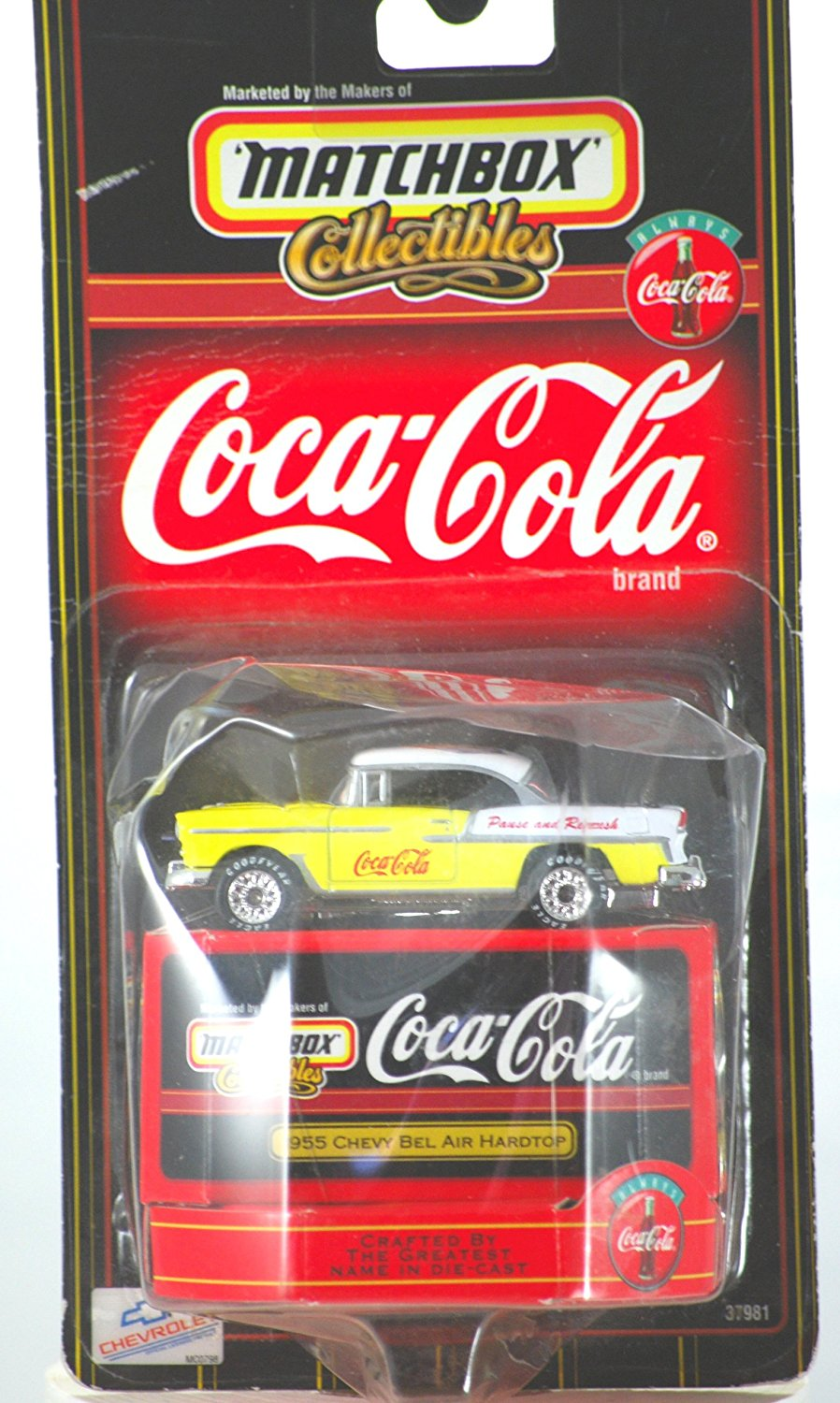 1998 Mattel Collectibles Coca-Cola 1955 Chevy Bel Air Hardtop 1:64 Scale Die Cast Metal... by