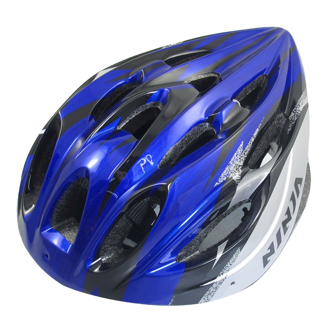 Unique Bargains Women Men Skateboard Skiing Racing Bicycle Bike Sports Helmet Blue Black Silvery by