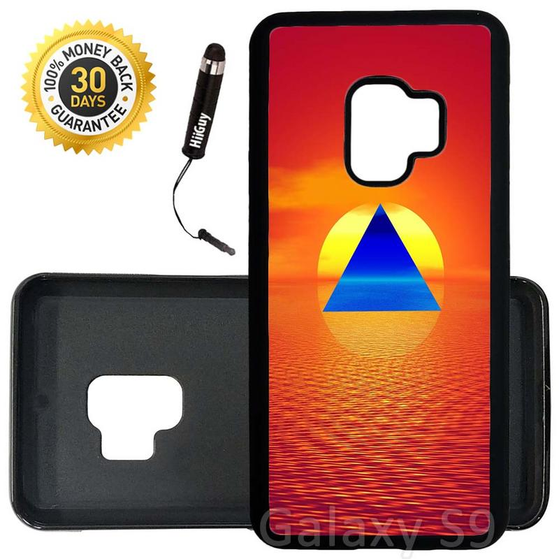 Custom Galaxy S9 Case (Hipster Triangle Sunset Red) Edge-to-Edge Rubber Black Cover Ultra Slim | Lightweight | Includes Stylus Pen by Innosub