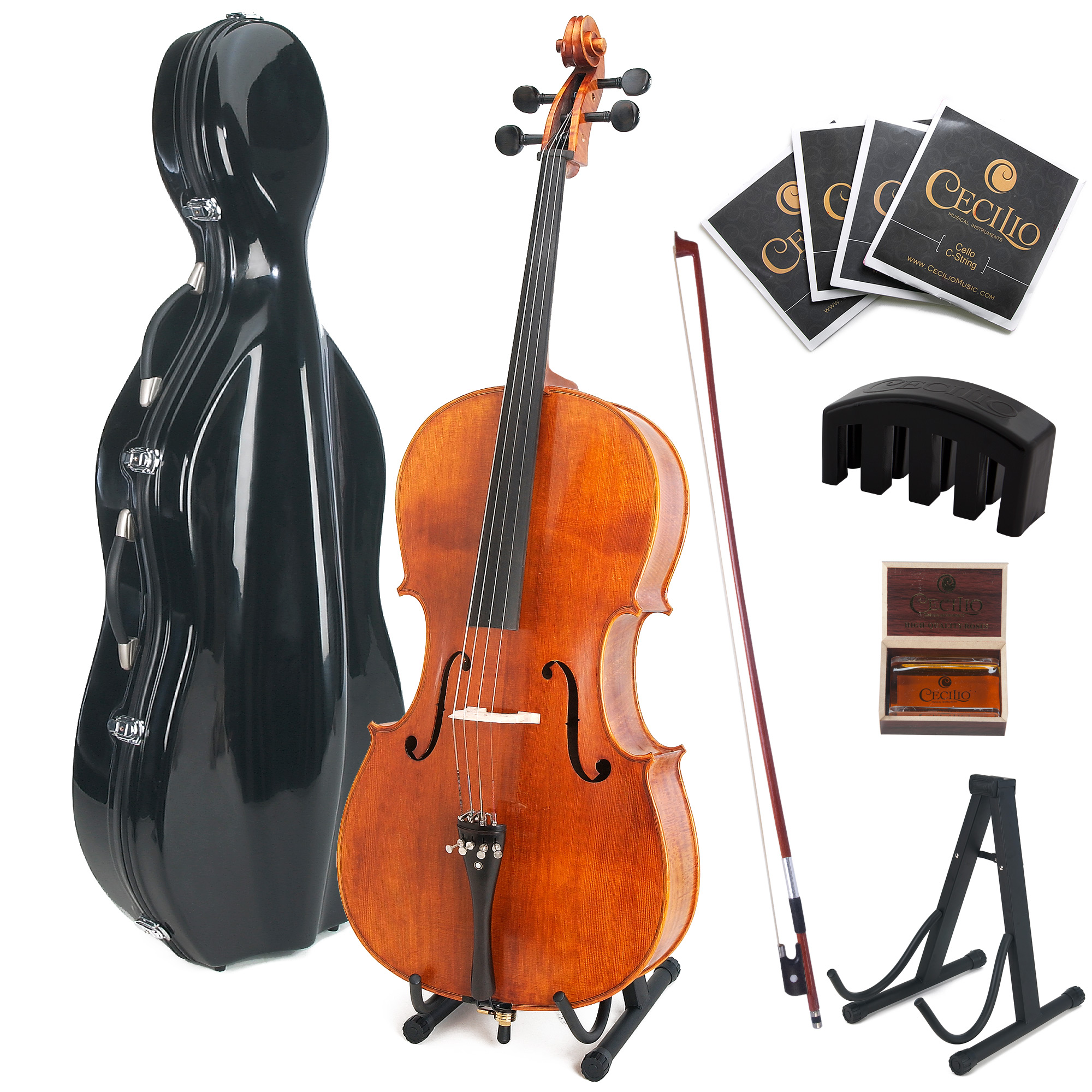 Cecilio CCO-600 Ebony Fitted Hand Oil-Rubbed Flamed Solid Wood Cello, with Cello Stand, Cello Mute and ABS Case, Full Size 4/4