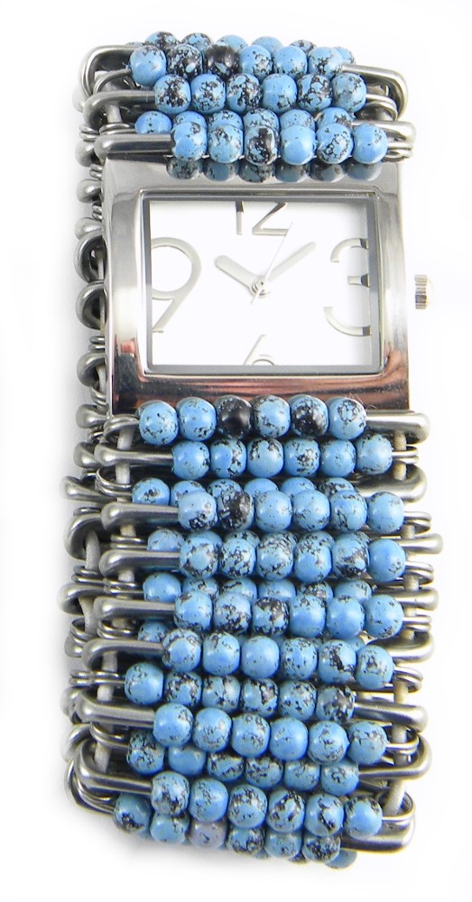 Stretch Safety Pin Watch with Marbled Turquoise Beads by