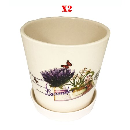 "Image of ""2 pcs set, Creative Motion Ceramic Mini Flower Pot with Lavenders Design. Product Size: Top: 4.3"""", Bottom: 3.5"""", Height: 4.4"""". 4 Inch Ceramic Succulent Planter Flower Pots with Saucer"""