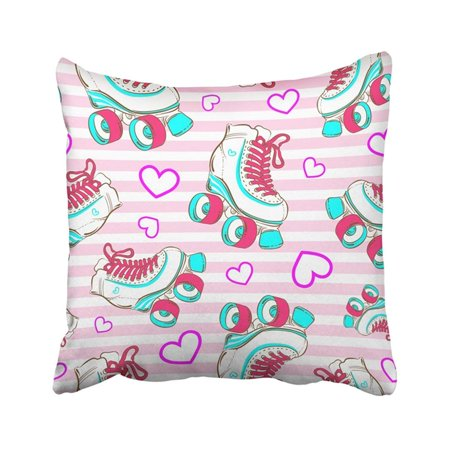 ARTJIA Colorful Girly With Cute Glamour Roller Skates Girls Sport Love Glam 1980S 1990S 70S 80S Pillowcase Pillow Cover 18x18 inches (80s Glam Sharpies)