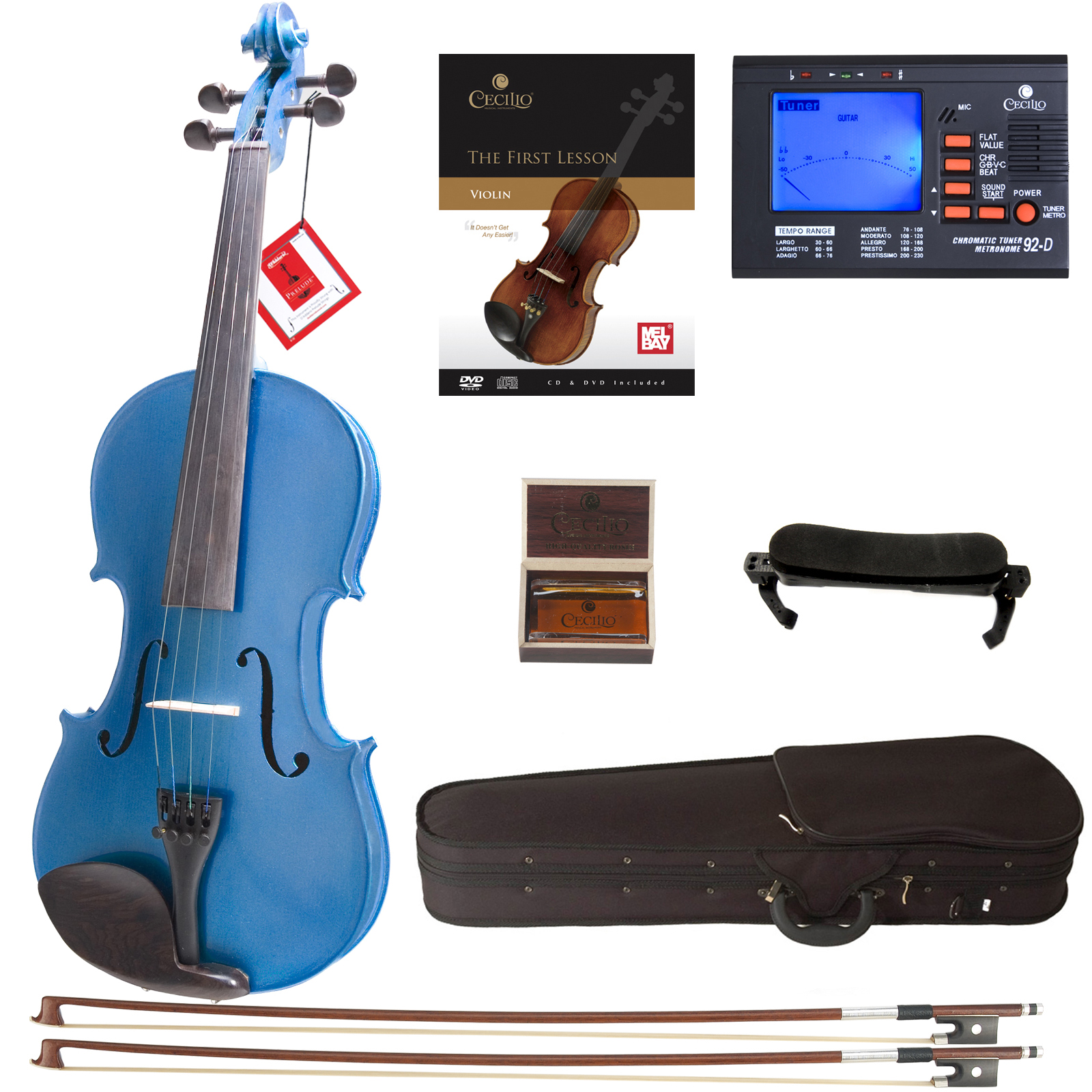 Cecilio Full Size Ebony Fitted Solid Wood Metallic Blue Violin w/D'Addario Prelude Strings, Lesson Book, Shoulder Rest and More 4/4CVN-Blue
