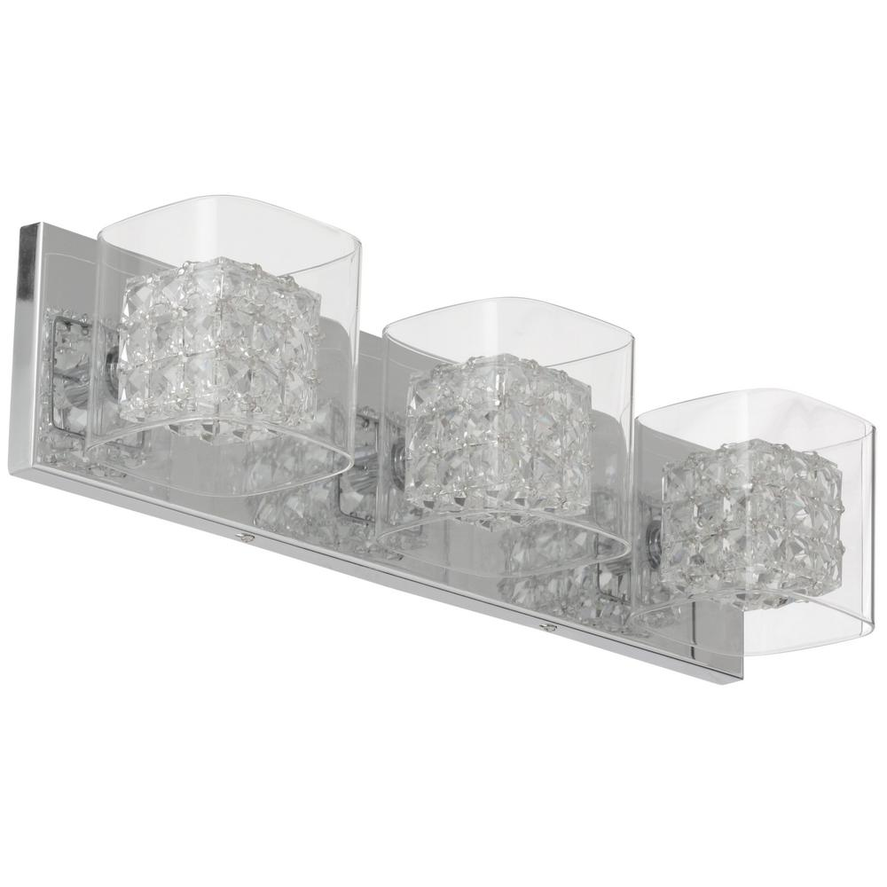 Home Decorators Collection Crystal Cube 3 Light Polished Chrome Vanity Light Store Return Walmart Com Walmart Com