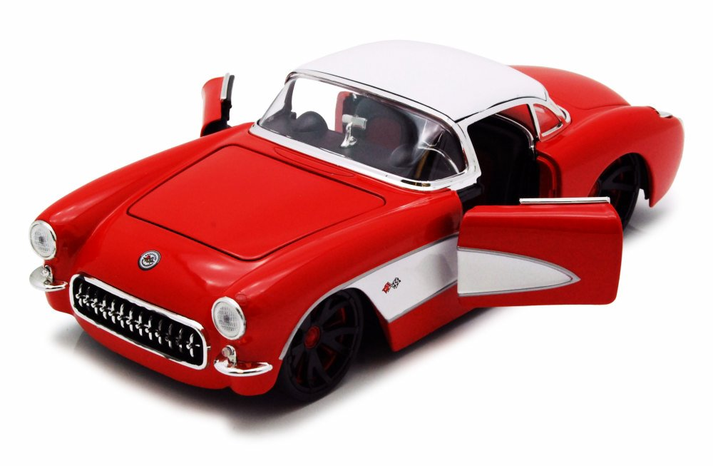 1957 Chevy Corvette, Red w  White Top Jada Toys 90937 1 24 scale Diecast Model Toy Car... by Jada