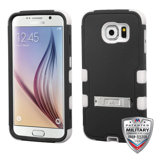 Samsung Galaxy S6 Case - Wydan TUFF Hybrid Hard Shockproof Case Kickstand Protective Heavy Duty Impact Skin Cover Black on White