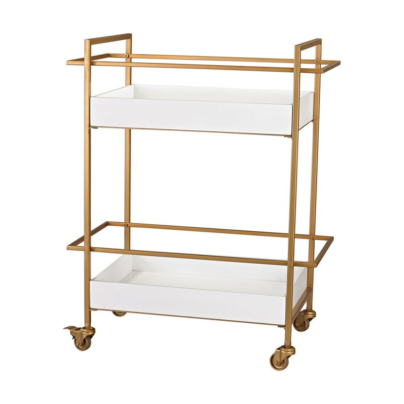 Sterling White and Gold Bar Cart in Gloss White and Gold