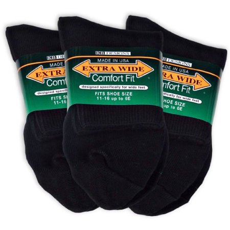 Extra Wide Athletic Quarter Socks for Men (3 Pack) (11-16 (up to 6E wide), Black)