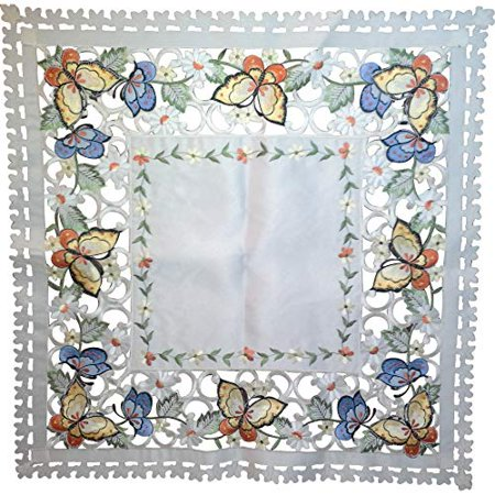 Doily Boutique Tablecloth or Table Topper Square Embroidered with Mult Color Butterflies on Ivory Material Size 34 x 34 inches](Butterfly Tablecloth)