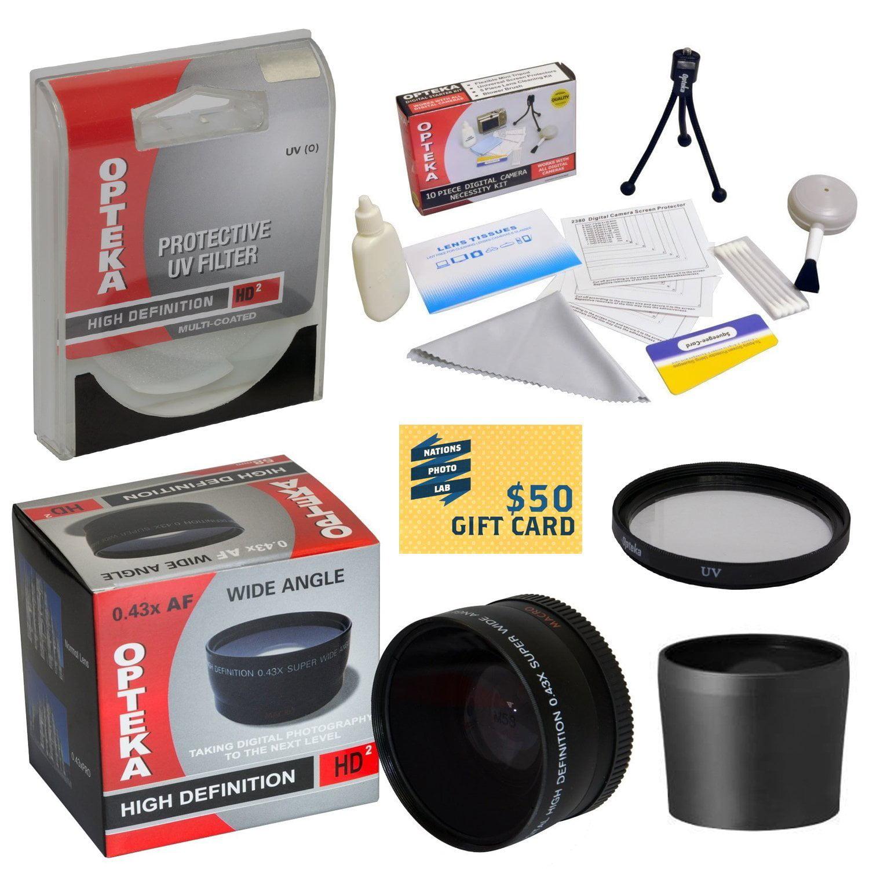 0.43x High Definition II Wide Angle Panoramic Macro Fisheye Lens For Canon PowerShot GX1 Camera Includes HD UV... by Opteka