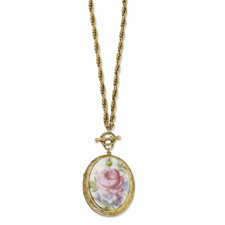 Gold-tone Decorative Toggle Fancy Lobster Closure Pink Flower Decal Locket 30 Inch Necklace