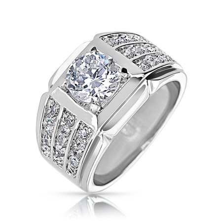 Wide For Men Cubic Zirconia Pave 3 Row CZ Classic Triple Band Ring Rhodium Plated Ring