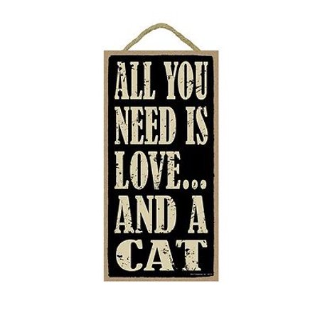 ALL YOU NEED IS LOVE... AND A CAT Primitive Wood Hanging Sign 5