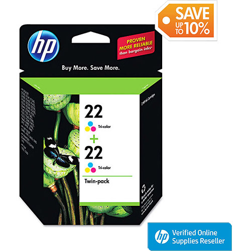 HP 22 Tri-color Original Ink Cartridges, 2 pack (CC580FN)