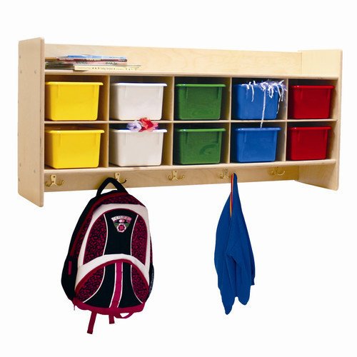Wood Designs Contender 10-Section Wall Cubby Storage Locker