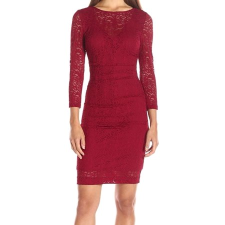 nicole miller new red women's size 8 floral lace illusion sheath dress