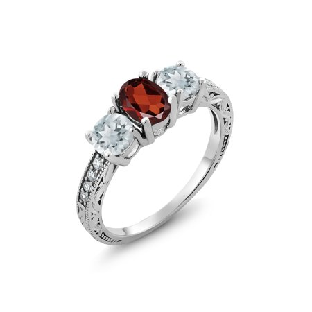 925 Sterling Silver 1.99 Ct Oval Red Garnet Sky Blue Aquamarine 3-Stone Ring ()