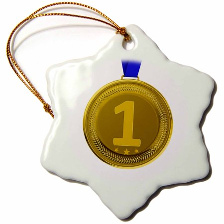 3dRose Gold medal number one winner win winning award honor first place - Snowflake Ornament, 3-inch - First Place Medal