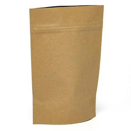25ea - 5-1/8 X 1-5/8 X 7 Kraft Plastic Stand-Up Pouch-Pkg Gusset - 1 5/8'' by Paper Mart 7' Gusset Kraft Paper