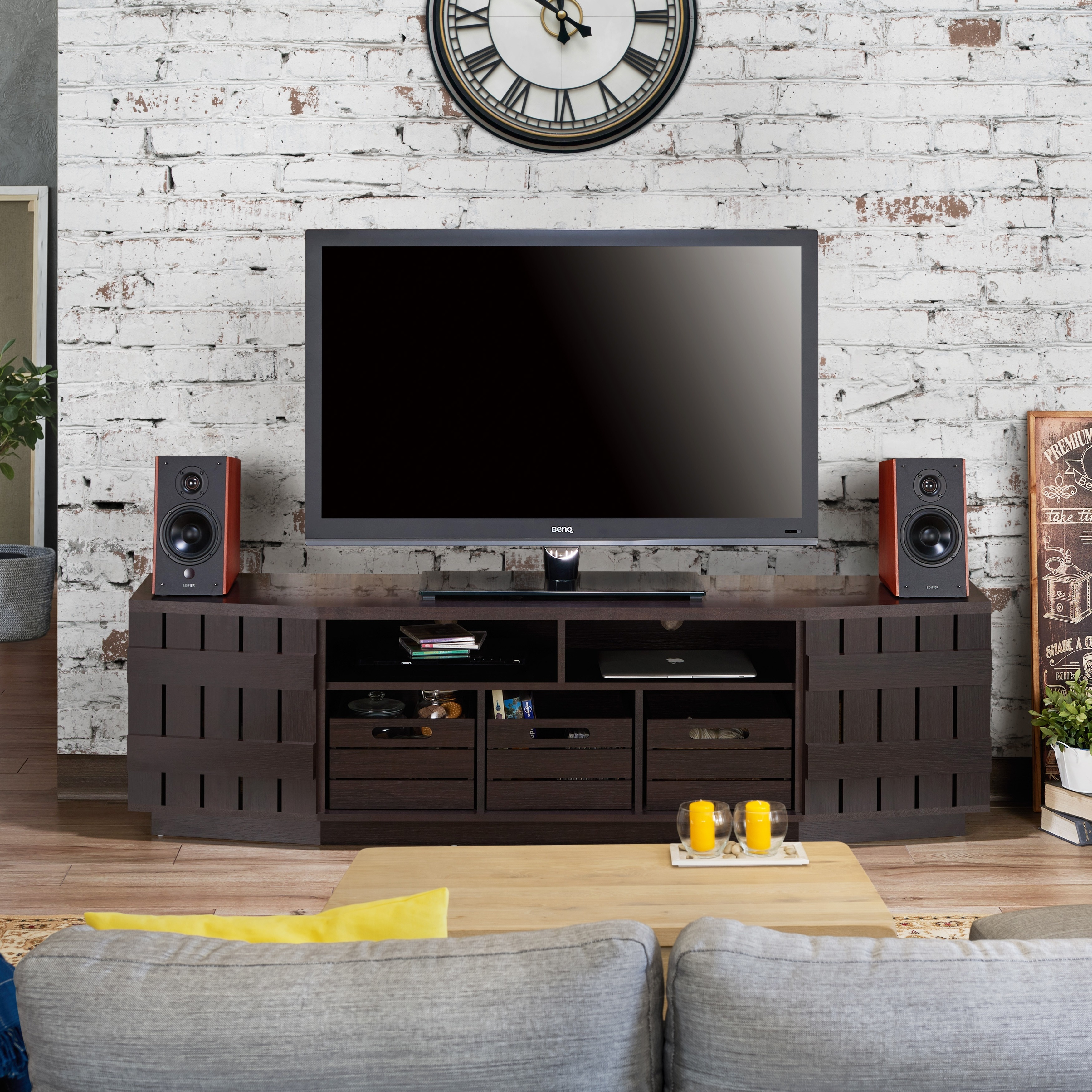 Furniture Of America Harla Rustic 70 Inch Tv Stand With Removable