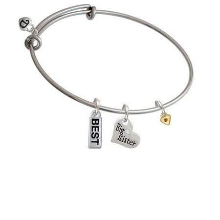 Mini Yellow Birthday Crystal Gold Tone Heart Big Sister Heart Expandable Bangle Bracelet - Big Sis Bracelet