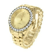 Gold Tone Mens Watch Large Lab Diamonds Quartz Water Resistant Jojino Joe Rodeo