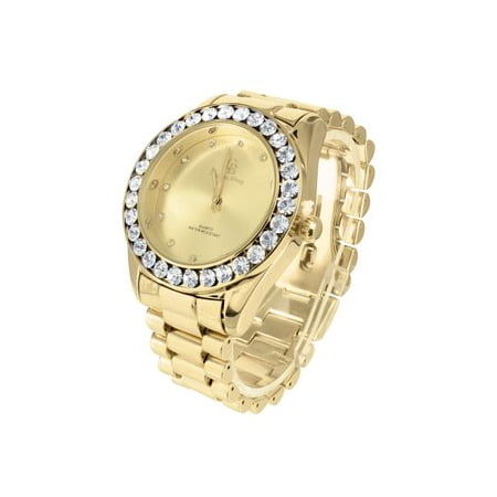Gold Tone Mens Watch Large Lab Diamonds Quartz Water Resistant Jojino Joe -