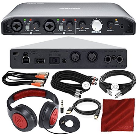 Tascam iXR USB Audio Recording Interface for iPad MacOS And Windows with Samson Stereo Headphones, Dual MIDI Cable, Deluxe