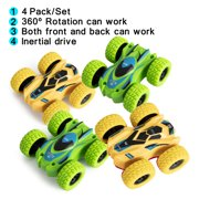 NK HOME 4 Pack Friction Powered Car Toys, Double-sided Stunt Flip Inertia Car, Push and Go Toy Cars for Toddlers, Powered Pull Back Toys Vehicle 360 Rotation Car Toys for 2 3 4 5 +Year Old Boys Girls