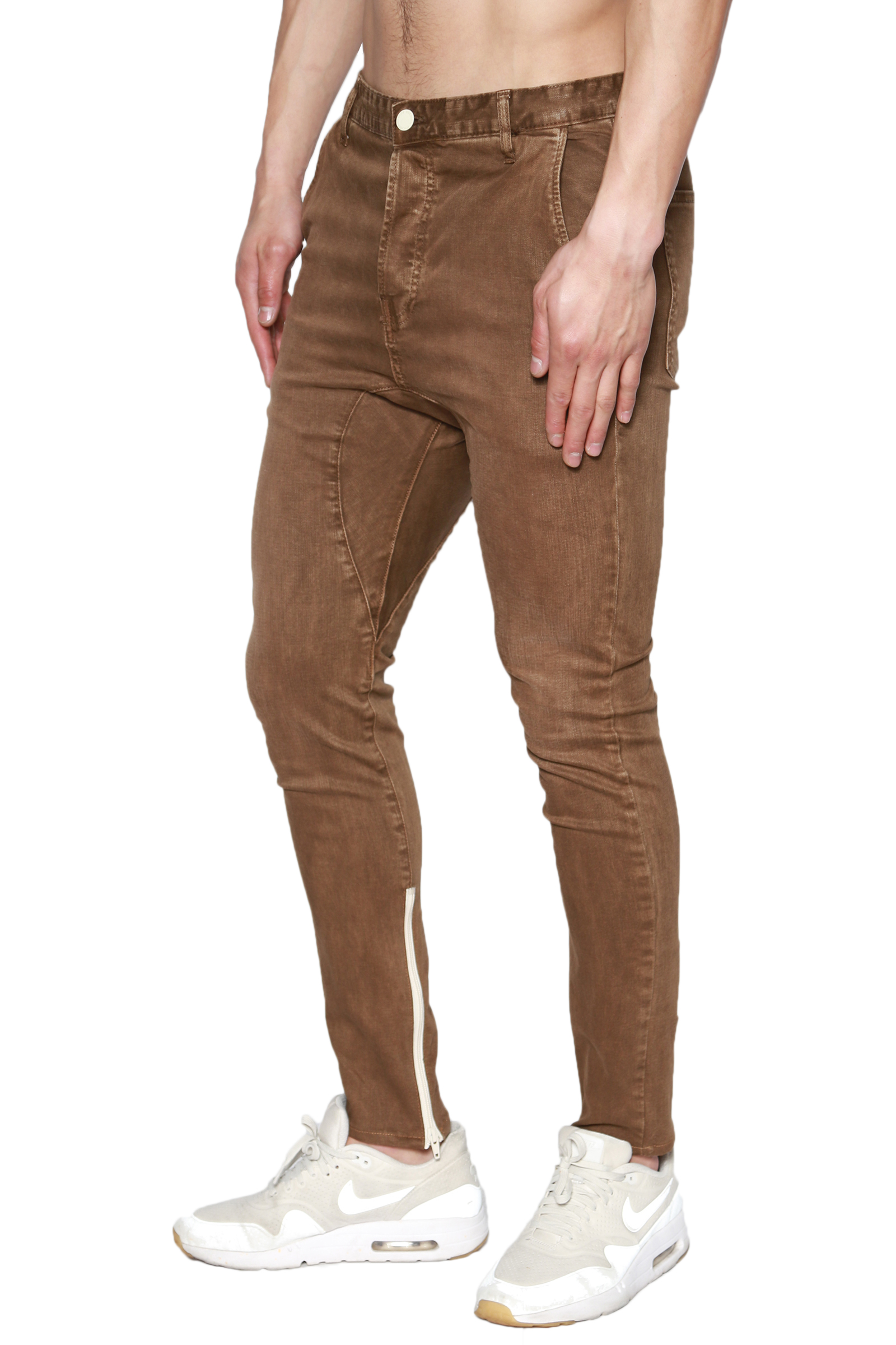TheMogan Men's Ankle Zipper Drop Low Crotch Baggy Skinny Jeans USA