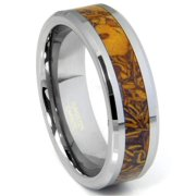 Titanium Kay Tungsten Carbide Brown Riverstone Inlay Comfort Fit Mens Wedding Band Ring Sz 10.0