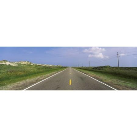 Road Passing Through A Landscape North Carolina Highway 12 Cape Hatteras National Seashore Outer Banks North Carolina Usa Canvas Art   Panoramic Images  18 X 6