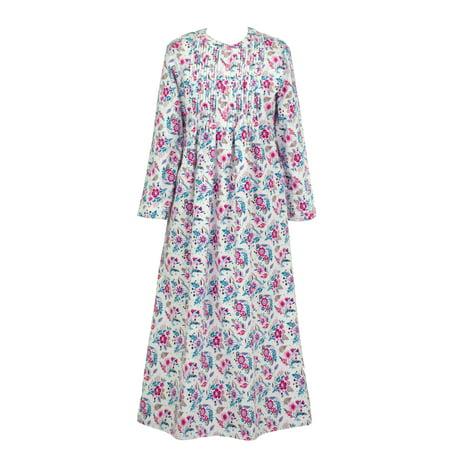 1792f427bb9 La Cera - La Cera Pintucked Long Cotton Flannel Nightgown - Walmart.com