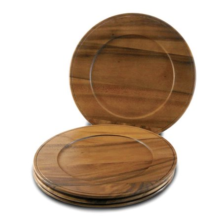 Acacia Wood Charger - Beaded Edge - Set of Four