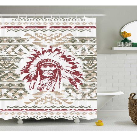 Native American Shower Curtain Retrp Eagle Heart Chief Trail Grunge Effects Ethnic Geometric Motif