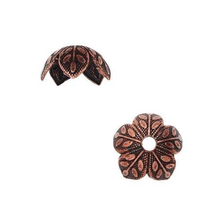 Nunn Design Bead Caps, 9mm Etched Daisy Design, 4 Pieces, Antiqued Copper (Copper Daisy)