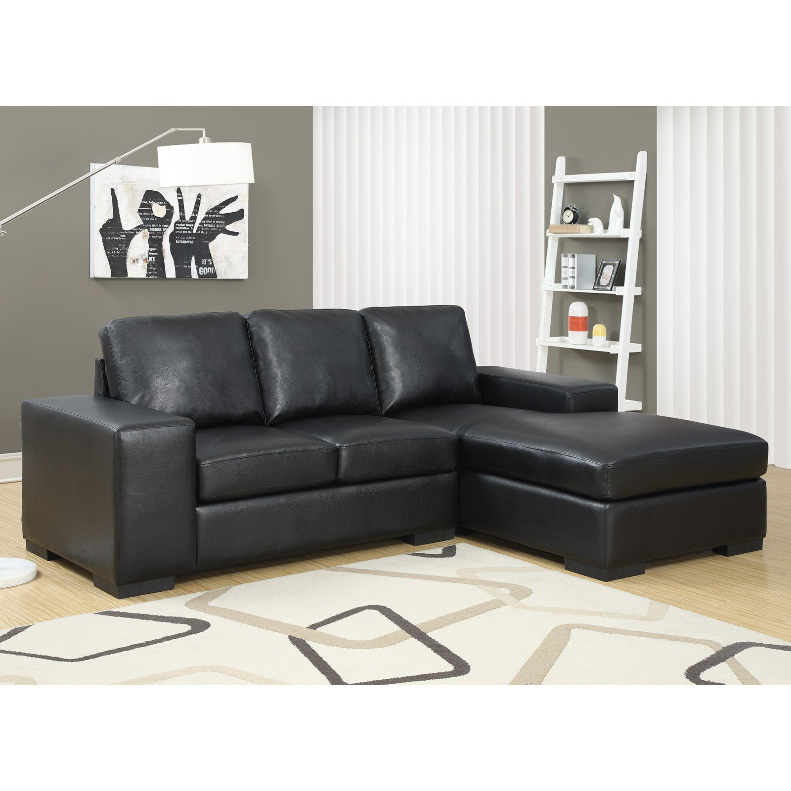 Monarch Specialties Sheffield Leather Sofa Lounger