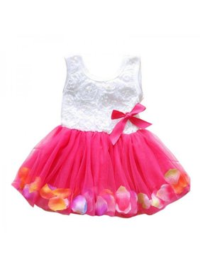 Toddler Baby Girls Princess Floral Sleeveless Tulle Tutu Party Wedding Dresses