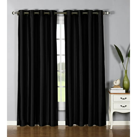 "1 PANEL Nancy SOLID BLACK SEMI SHEER WINDOW FAUX SILK ANTIQUE BRONZE GROMMETS CURTAIN DRAPES 55 WIDE X 84"" LENGTH"