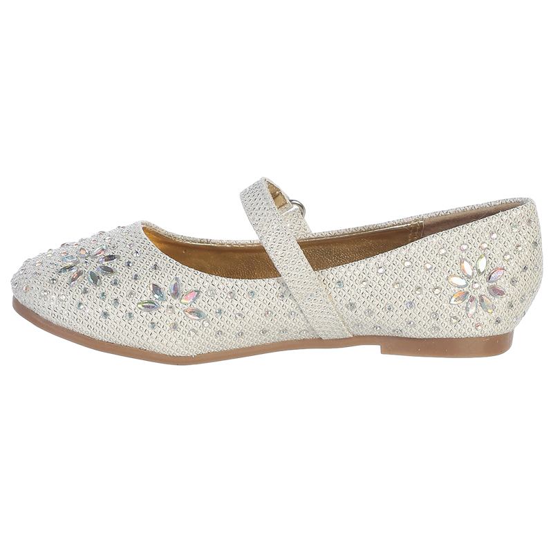 Girls Ivory Glitter Floral Stud Flat Shoes 11-4 Kids
