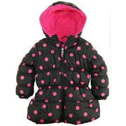 Pink Platinum Little Girls' Toddler Big Polka Dots Hooded Puffer Winter Jacket