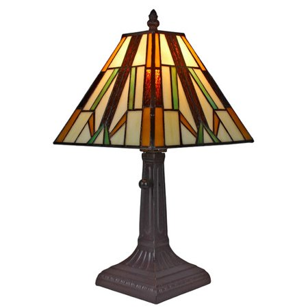 Amora Lighting AM100TL08 Tiffany Style Mission Table Lamp 15.5 In (Mission Tiffany Four Light)
