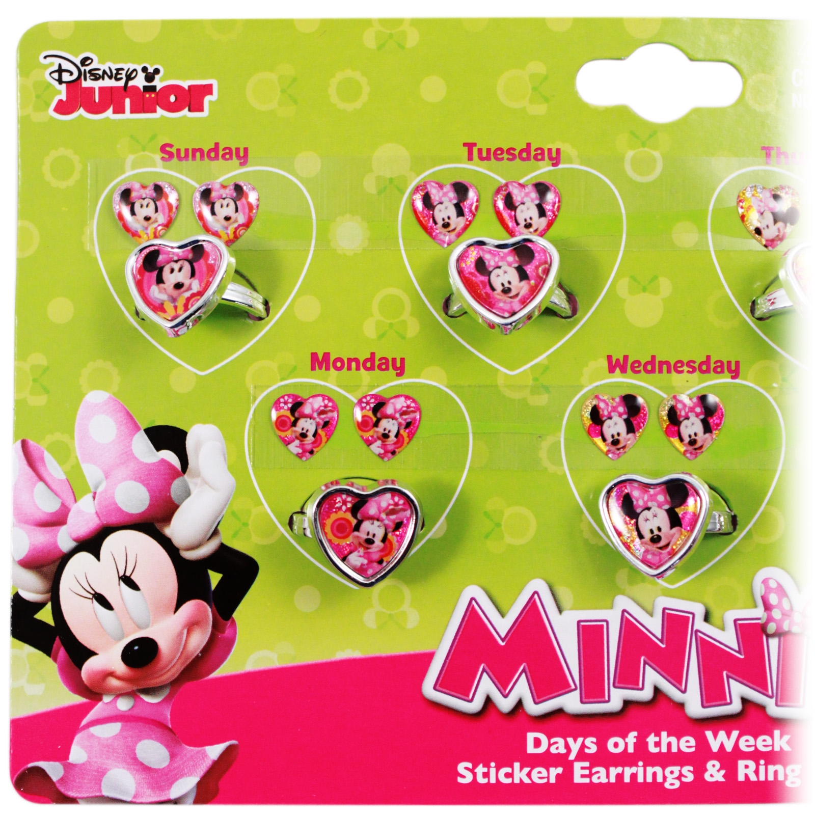 Disney Minnie Mouse Girls Rings and Earrings Set Days of the Week ...
