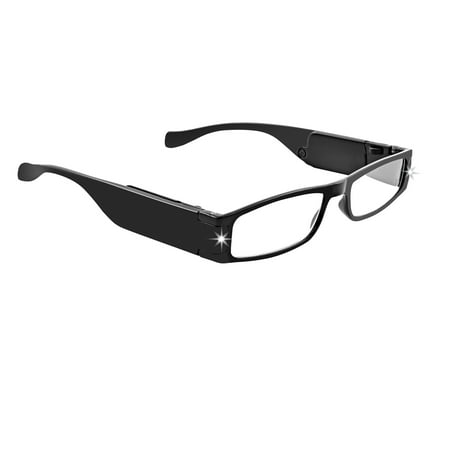 LightSpecs LightWeight Reading Glasses with LED lights +1.50 Power, Black, w/Tube Case - Glasses With Led