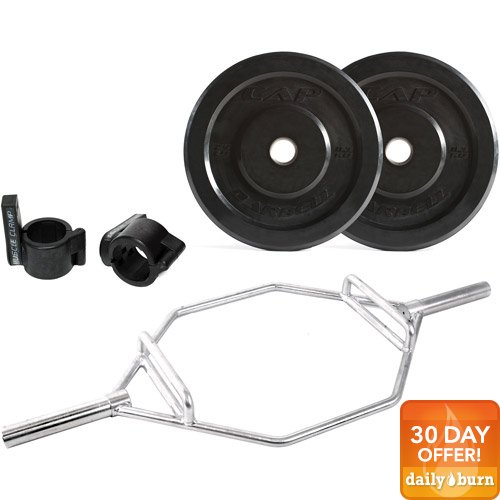 CAP Barbell 100lb Bumper Plate Set with Zinc-Plated Hex Bar and Muscle Clamps