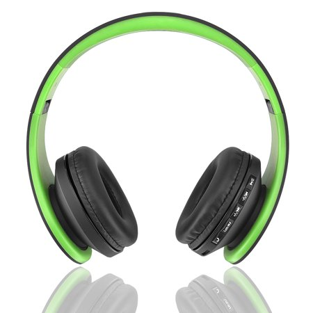 Andoer LH-811 Stereo Bluetooth Headset 4 in 1 Multifunctional Wireless Stereo Bluetooth 4.1 + EDR Headphone & Wired Earphone with Mic MP3 Player TF Card Music FM Radio Hands-free Green for iPhone 6S