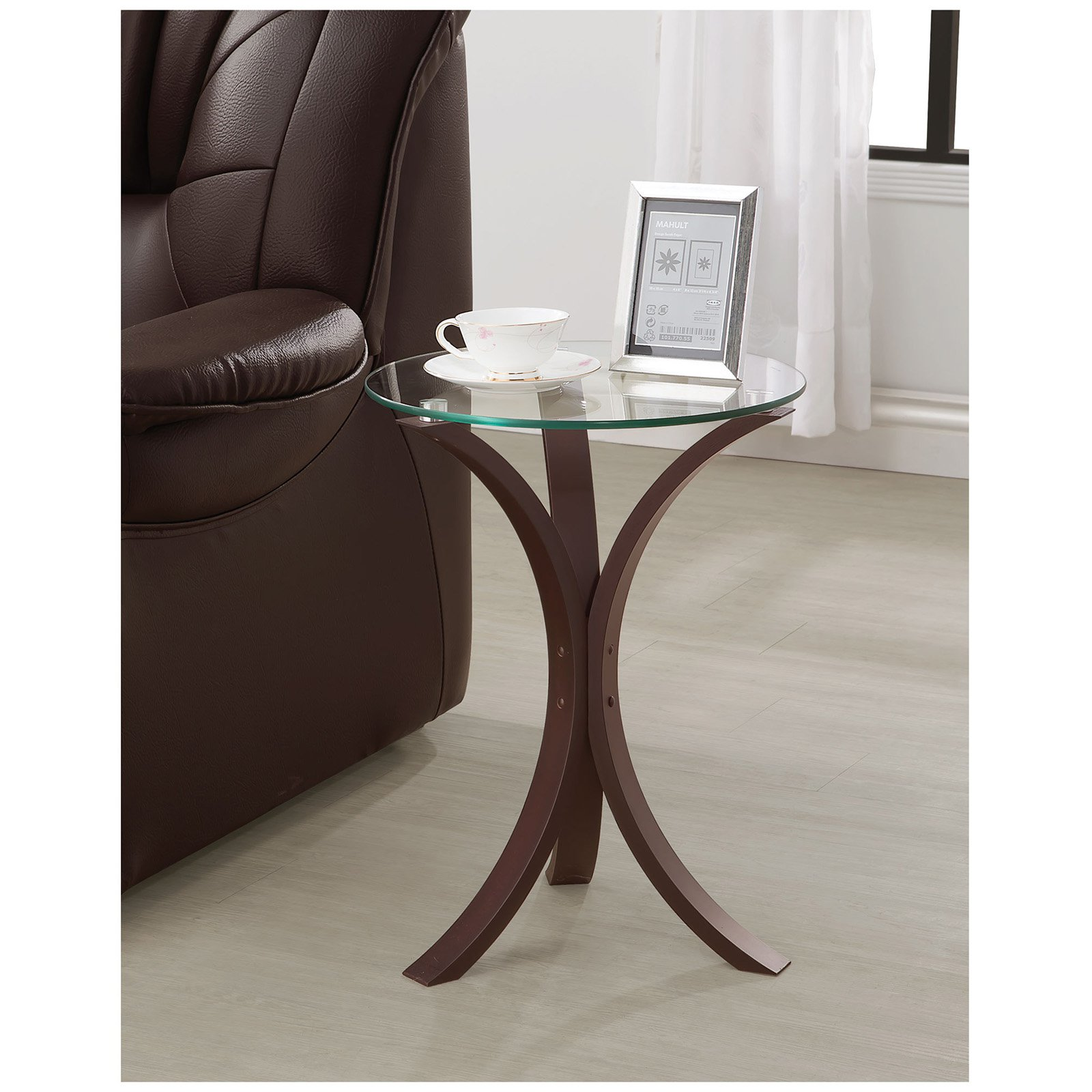 Coaster Furniture Cappuccino Glass Top End Table