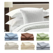Luxury 500 Thread Count 100% Cotton Sateen Bed Sheet Set Dobby Stripe