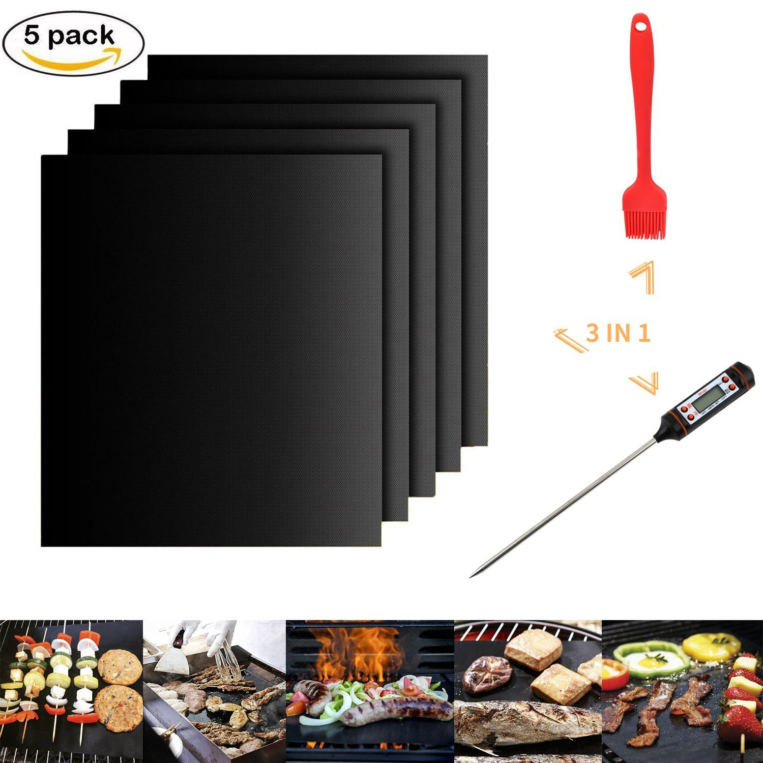 3 in 1 Grill Mat & Brush & Thermometer BBQ Tools, Set of 5 Non Stick Baking Mats, Instant Read Meat Digital... by
